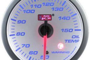 60mm Oil Temp Blue Racer (WHITE FACE)