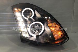 Nissan Skyline G-35 2D 03-07 Projector H/L DRL LED Ring Black (D2S)