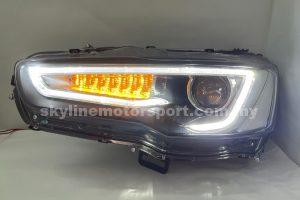 Mitsubishi Lancer 07-16 A5 Style Projector H-L DRL Led Light Strip Black