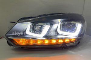 Volkswagen Golf 6 09-11 Projector H-L DRL Led Black