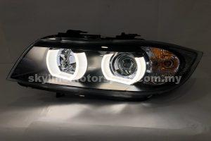 BMW E90 05-08 4Dr Projector H-L DRL LED Black (H7)