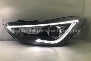 Hyundai Elantra 11-16 Projector H/L DRL LED Black (WSRF)